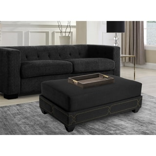 Chic Home Prezton Nail head Ottoman, Black