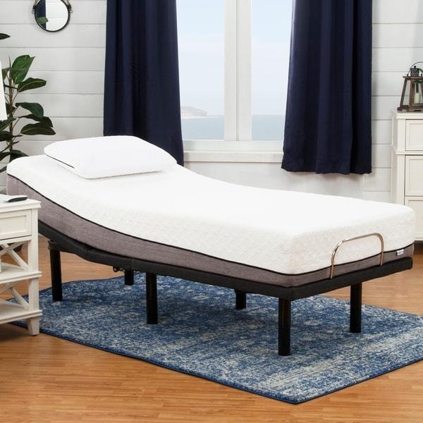 Sleep Zone Huntington 10-inch Twin XL-size Memory Foam Mattress and Adjustable Bed Set