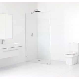 Glass Warehouse 78-inch x 34.5-inch Frameless Single Fixed Shower Panel with Chrome Finished Hardwar