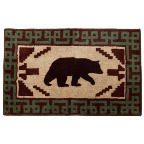 HiEnd Accents Bear with Green Border Bath Rug