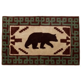 HiEnd Accents Bear With Green Border Bath Rug