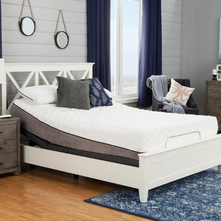 Sleep Zone Pacifica 12-inch Queen-size Memory Foam Mattress and Adjustable Bed Set