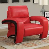 Furniture of America Speces Modern 2-Tone Breathable Leatherette Chair
