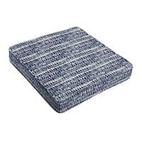 Porter Indigo and Navy Graphic Indoor/ Outdoor Corded Square Chair Cushion