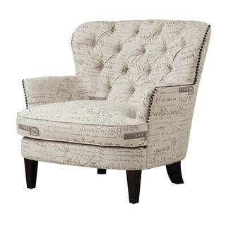 Vintage Script White Linen Fabric Diamond Button Tufted Accent Chair