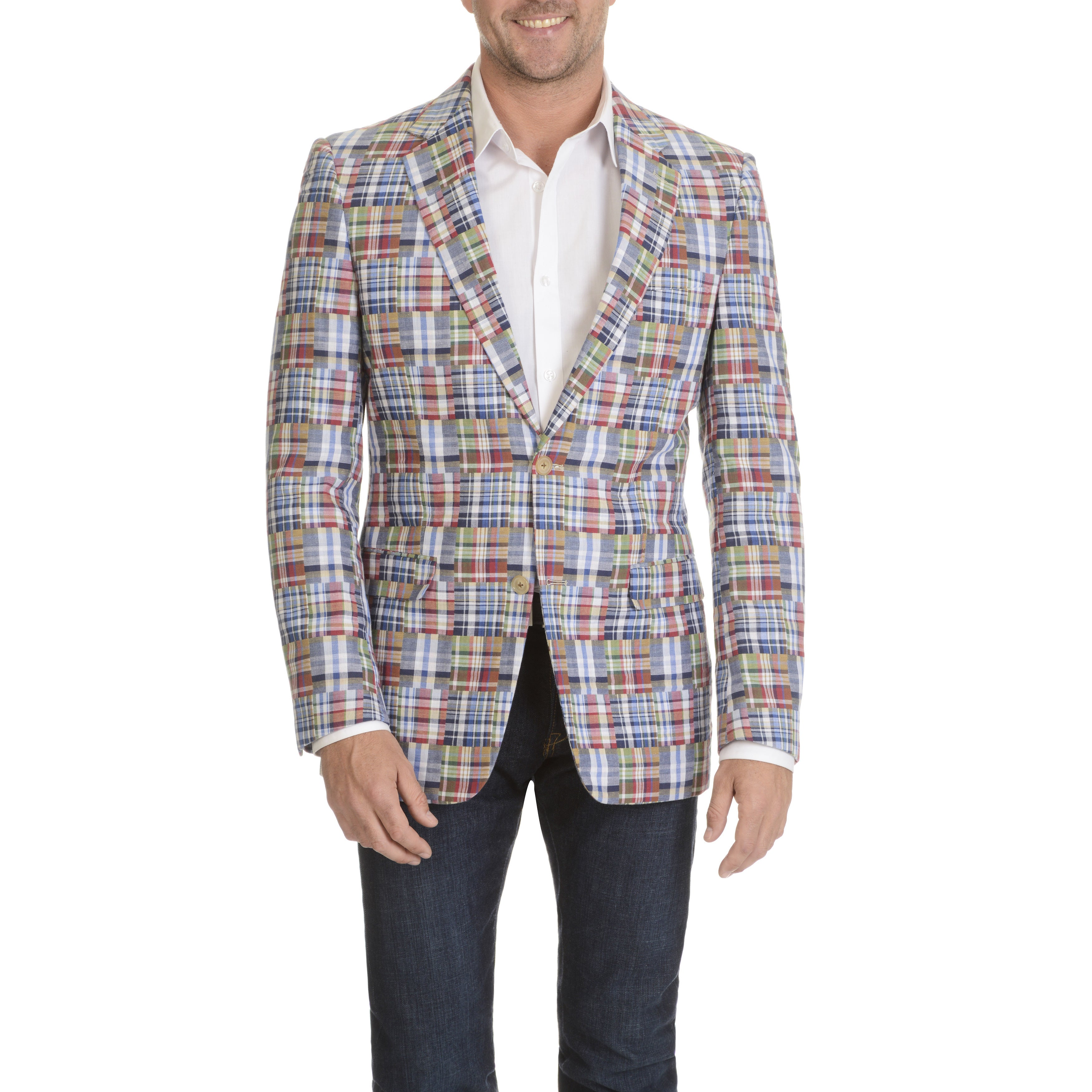 U.S. POLO ASSN Men's Madras Plaid 2 Button Sports Coat (4...