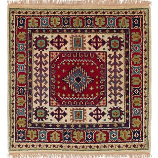 ecarpetgallery Hand-Knotted Royal Kazak Red Wool Rug (3'3 x 3'3)