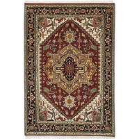 ecarpetgallery Hand-Knotted Serapi Heritage Red Wool Rug (4'1 x 6'0)