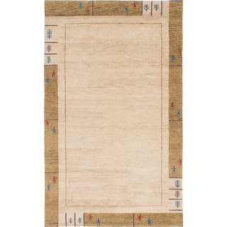 ecarpetgallery Hand-Knotted Indian Gabbeh Ivory Wool Rug (4'10 x 8'0)