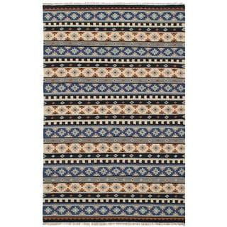 ecarpetgallery Flatweave Izmir Kilim Black, Ivory Wool Kilim (5'1 x 8'2)