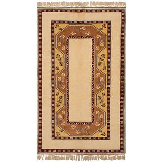 ecarpetgallery Hand-Knotted Caucasus Kula Ivory Wool Rug (5'1 x 9'0)
