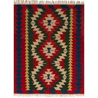 ecarpetgallery Flatweave Ankara Kilim Red Wool Kilim (5'6 x 7'4)