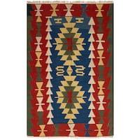 ecarpetgallery Flatweave Ankara Kilim Blue, Red Wool Rug