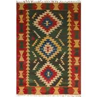 ecarpetgallery Flatweave Ankara Kilim Green Wool Rug