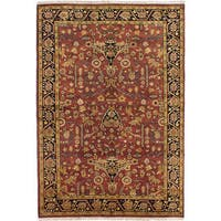 ecarpetgallery Hand-Knotted Finest Agra Jaipur Red Wool Rug (6'0 x 8'8)
