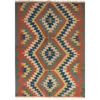 ecarpetgallery Flatweave Ankara Kilim Brown Wool Rug (6'2 x 8'9)