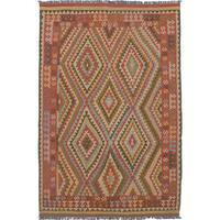 ecarpetgallery Flatweave Anatolian Kilim Brown, Red Wool Kilim (6'3 x 9'6)
