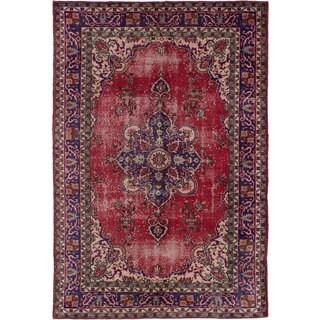 ecarpetgallery Hand-Knotted Melis Vintage Red Wool Rug (6'3 x 9'5)