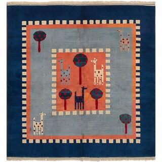 ecarpetgallery Hand-Knotted Caucasus Kula Blue, Brown Wool Rug (6'9 x 7'0)