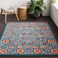"""Vintage Inspired Traditional Oriental Blue Area Rug - 5'3"""" x 7'3"""""""