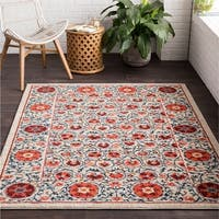 """Vintage Inspired Traditional Oriental White Area Rug - 5'3"""" x 7'3"""""""