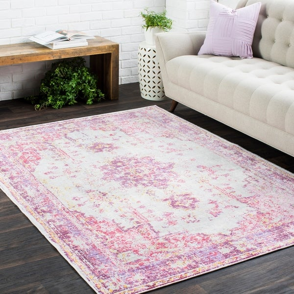 Shop Vintage Distressed Oriental Pink Area Rug
