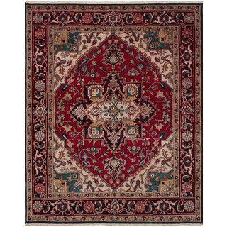 ecarpetgallery Hand-Knotted Royal Heriz Red Wool Rug (7'11 x 10'0)