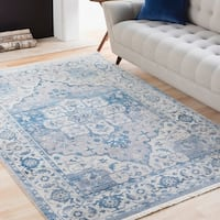 Vintage Persian Traditional Blue Area Rug (3'11 x 5'7)
