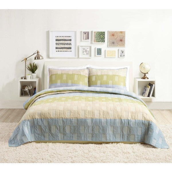 Presidio Oliver Square Quilt (Shams sold seperately) - Blue/White