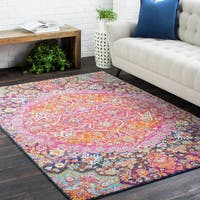 The Curated Nomad Roanoke Pink & Purple Medallion Area Rug - 3'11 x 5'7