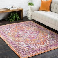 Vintage Distressed Oriental Pink Area Rug (5'3 x 7'3)
