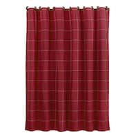 HiEnd Accents Red Cotton Window Pane Shower Curtain With Button Detail