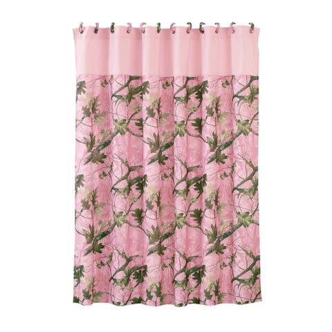 HiEnd Accents Pink Oak Camo Shower Curtain 72 X 72