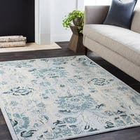 "Weathered Persian Teal & Cream Area Rug - 5'3"" x 7'3"""