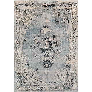 Traditional Slate Blue Vintage Medallion Rug (5'3 x 7'3)