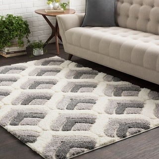 """Soft Patterned Shag White and Grey-(5'3"""" x 7'3"""")"""