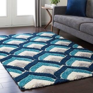 Soft Patterned Shag Blue (5'3 x 7'3)