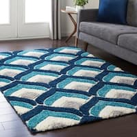 Soft Patterned Shag Blue Area Rug (5'3 x 7'3)