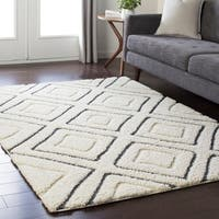 "Soft Boho Shag White and Grey Area Rug - 5'3"" x 7'3"""