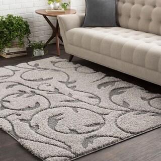 Soft Floral Shag Grey (5'3 x 7'3)
