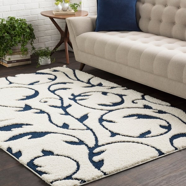 Shop Soft Floral Shag Blue And White Area Rug 5 3 Quot X 7 3