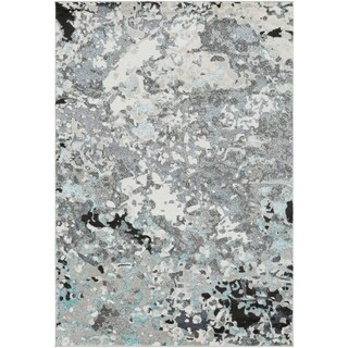 "Modern Abstract Painterly Grey and Blue-(5'3"" x 7'3"")"