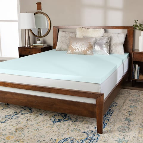 Splendorest 3-inch Serene Foam Mattress Topper - Blue