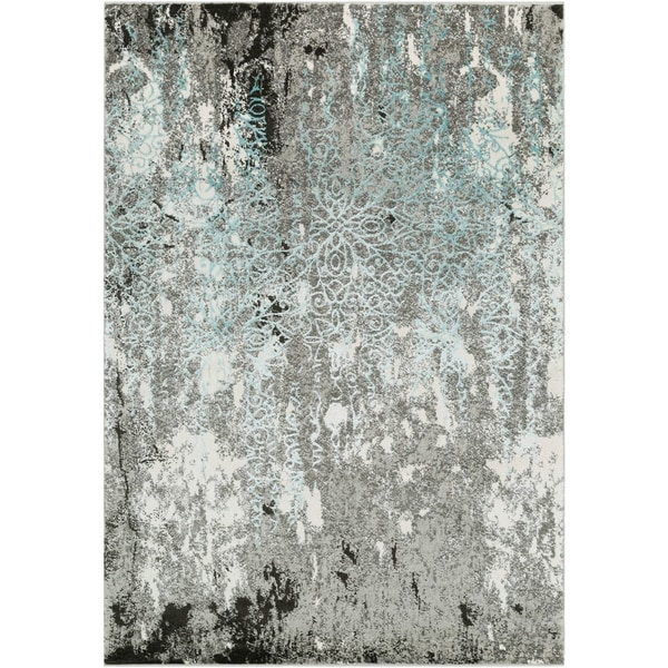 """Abstract Modern Grey and Blue Area Rug - 5'3"""" x 7'3"""""""