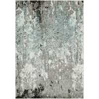 "Abstract Modern Grey and Blue Area Rug - 5'3"" x 7'3"""