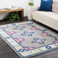 "Persian Inspired Boho Gray & Pink Area Rug - 5'3"" x 7'3"""