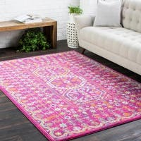 "Bright Traditional Vintage Pink Area Rug - 5'3"" x 7'3"""
