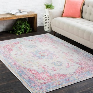 "Vintage Distressed Oriental Pink and blue-(3' x 7'10"")"