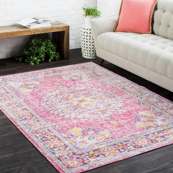 """Vintage Distressed Oriental Pink-(3' x 7'10"""")"""