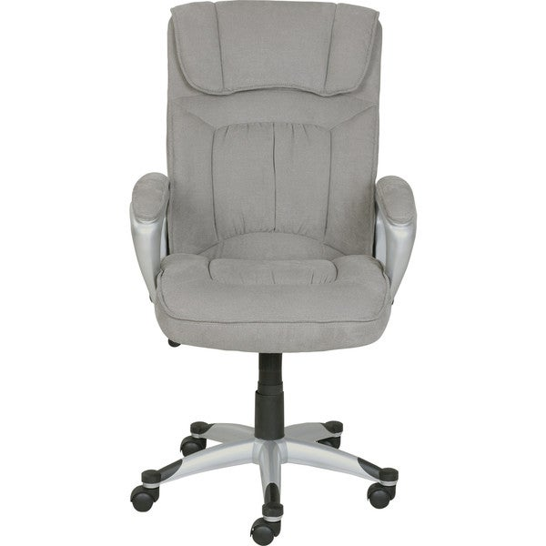 Serta Executive Office Chair In Glacial Grey Linen Metallic Finish